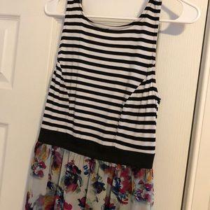 Xhilaration Dresses - Floral and black/white striped maxi dress